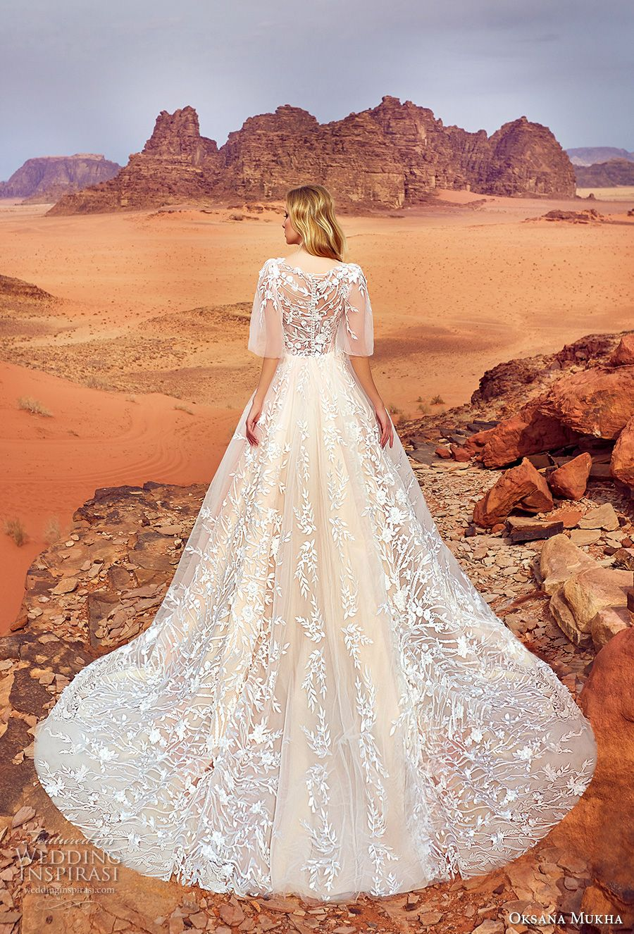 oksana mukha 2018 bridal half angel sleeves v neck full embellishment romantic a  line wedding dress covered lace back royal train (jadice) bv -- Oksana Mukha 2018 Wedding Dresses