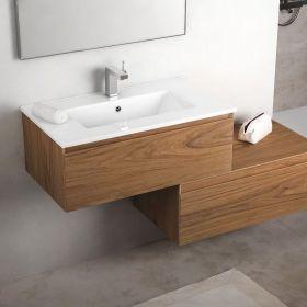Cuenca meuble salle de bain 81 cm bois noyer vasque céramique