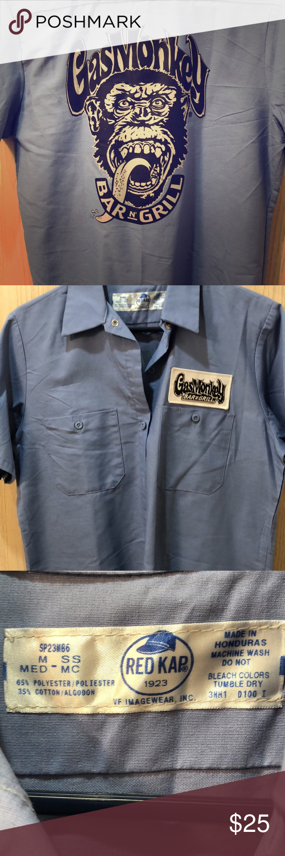 Gas Monkey Garage New without tags  Gas Monkey Garage unisex button up.  Bought at Gas Monkey Garage in Dallas, Texas. Tops #gasmonkeygarage
