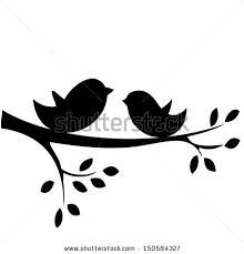 Birds branch. On a silhouette clip
