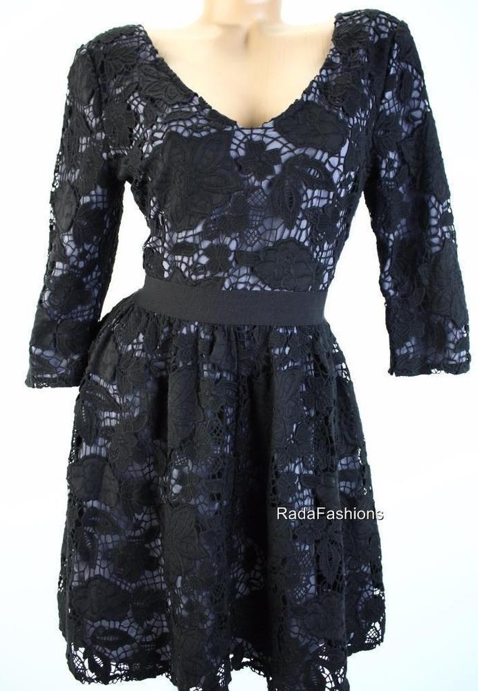 Victoria's Secret V Neck Fit & Flare Floral Lace Cotton Crochet Dress Black XS M #VictoriasSecret #FitFlare #LittleBlackDress