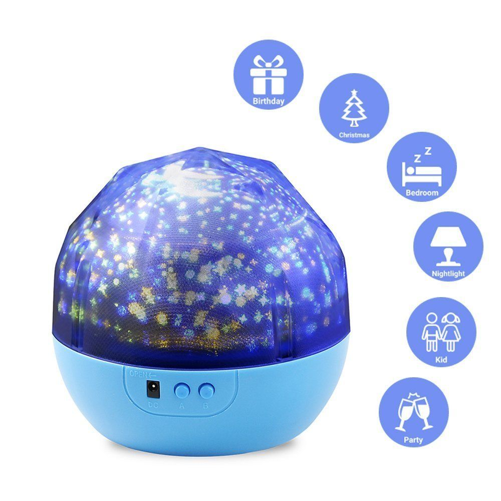 LED Projector Bedside Lamp,WONFAST Diamonds Style Battery