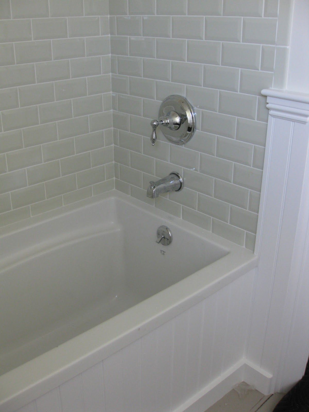Love the beveled subway tile master bathroom for the for White bathroom tile ideas