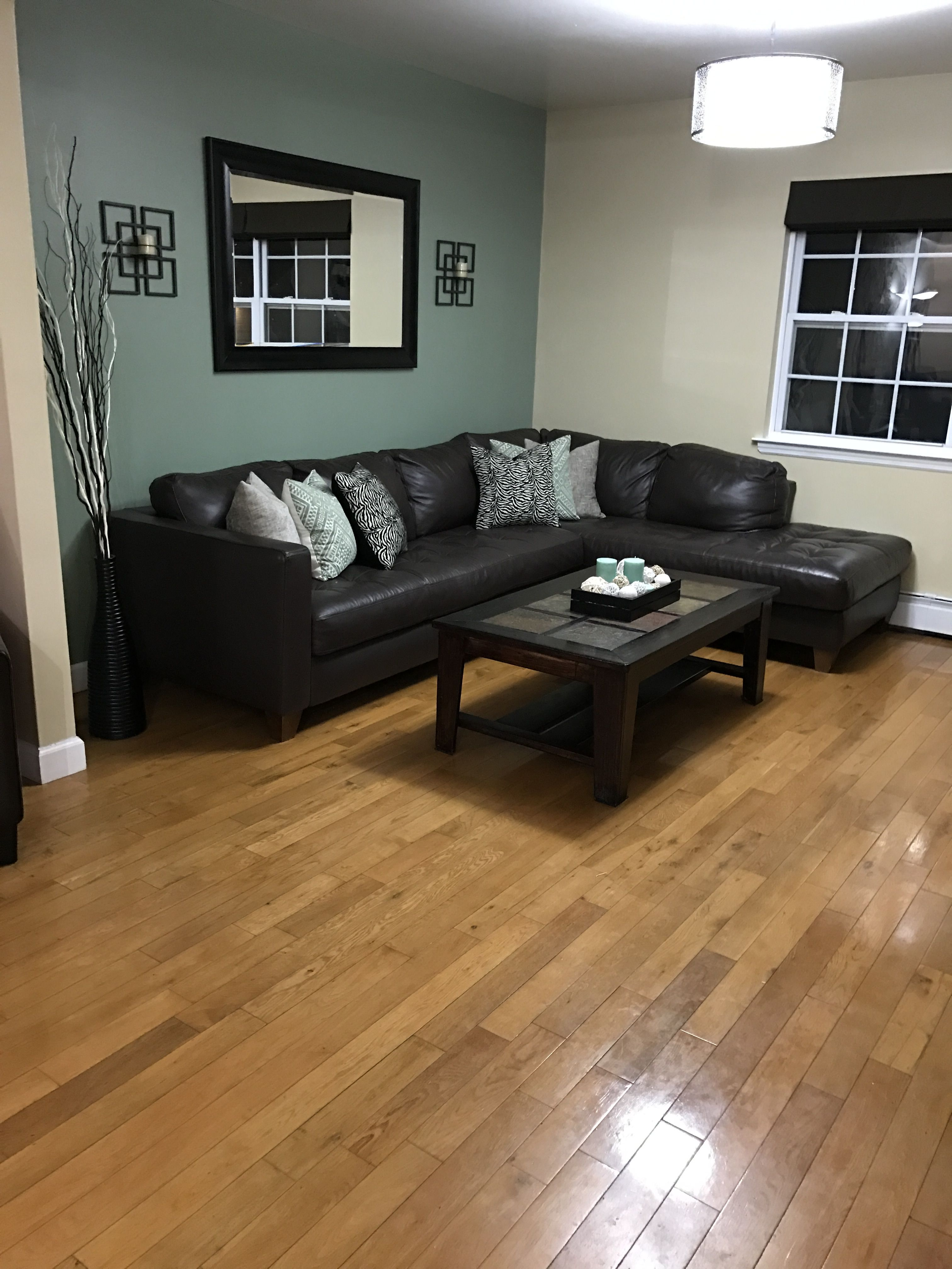 I Love The Finished Product That Sage Green Accent Wall Is Sooo Relaxing Accent Walls In Living Room Green Walls Living Room Living Room Green #sage #walls #living #room