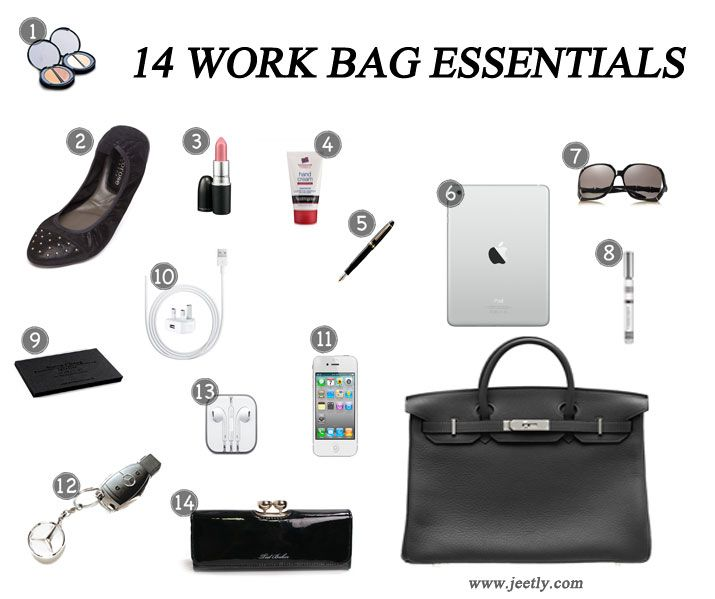 76ba133a62 The essentials every woman should carry in her work bag.