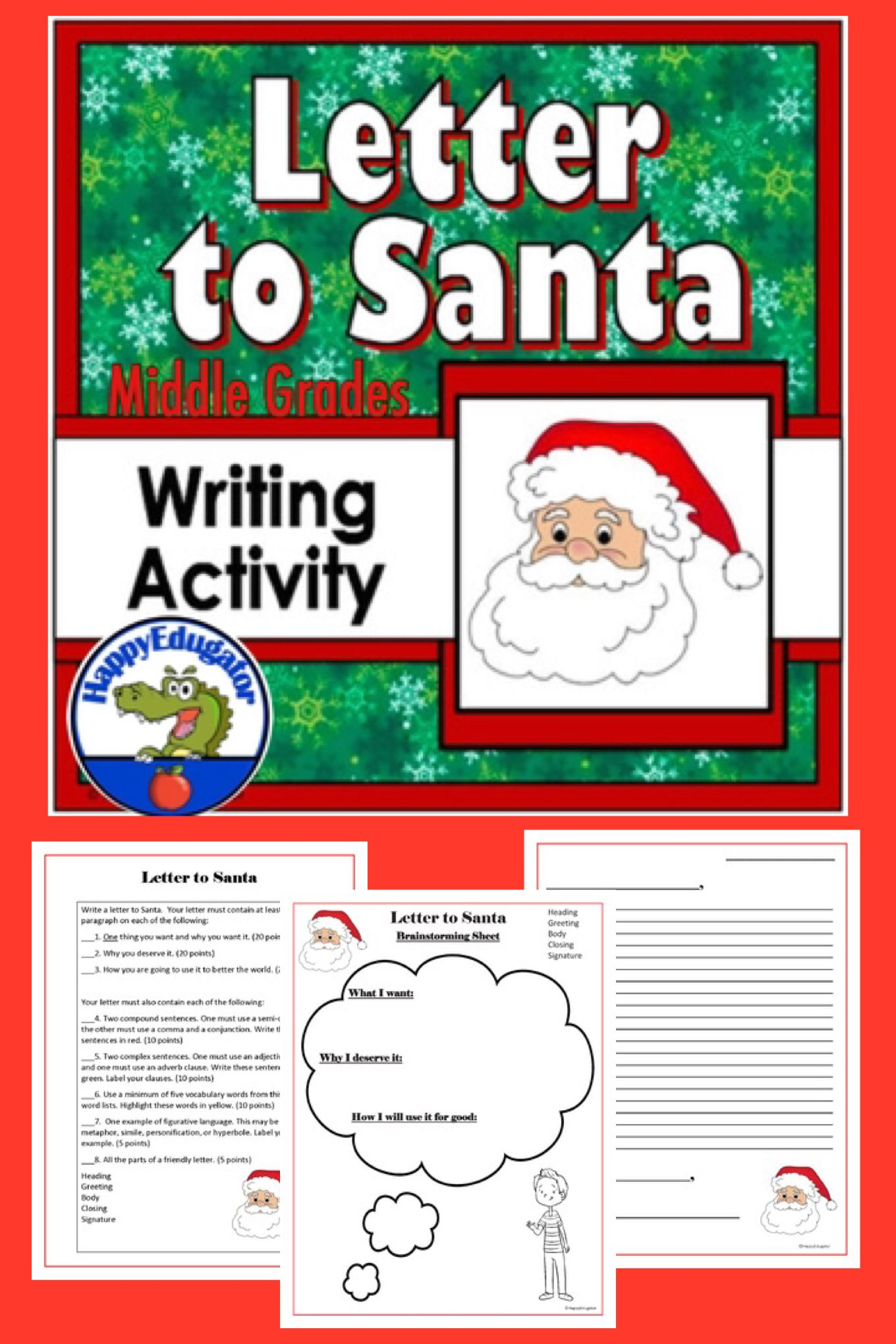 Christmas Letter To Santa Writing Activity For Middle