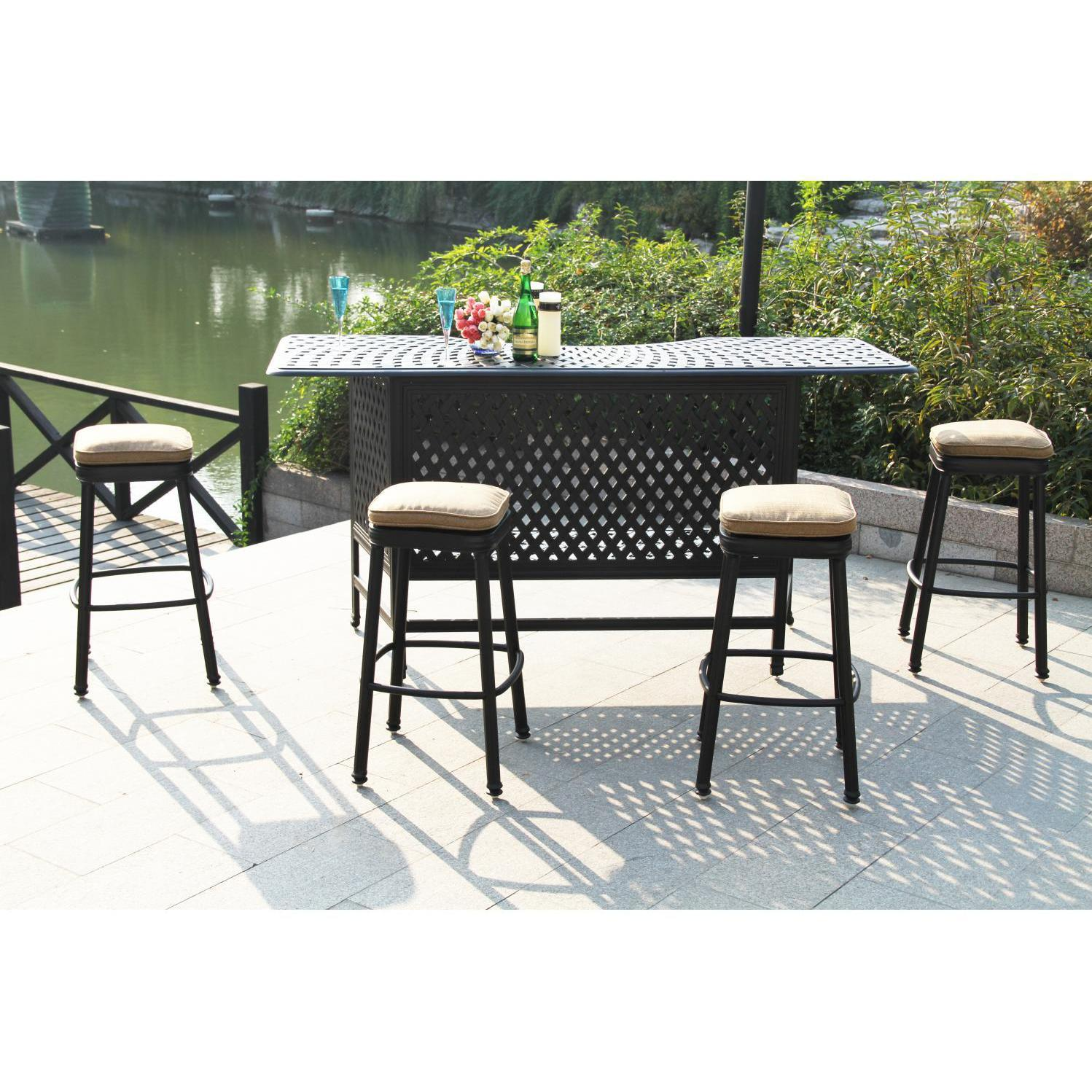 Cool Darlee Classic Cast Aluminum Square Backless Patio Counter Frankydiablos Diy Chair Ideas Frankydiabloscom