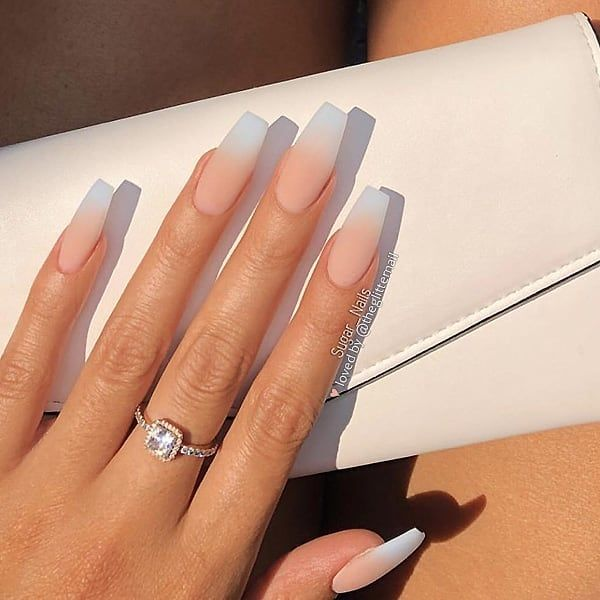 Matte French Ombre On Long Coffin Nails Nail Artist Sugarnails1 Follow Her For Mor French Tip Acrylic Nails Coffin Nails Long Best Acrylic Nails