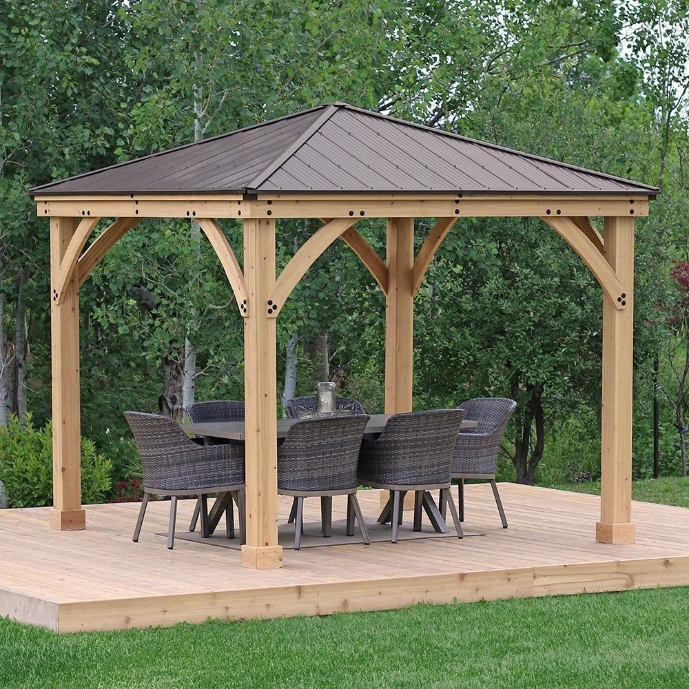 10 X 10 Meridian Wood Gazebo With Aluminum Roof Brown Wooden Gazebo Diy Gazebo Backyard Gazebo