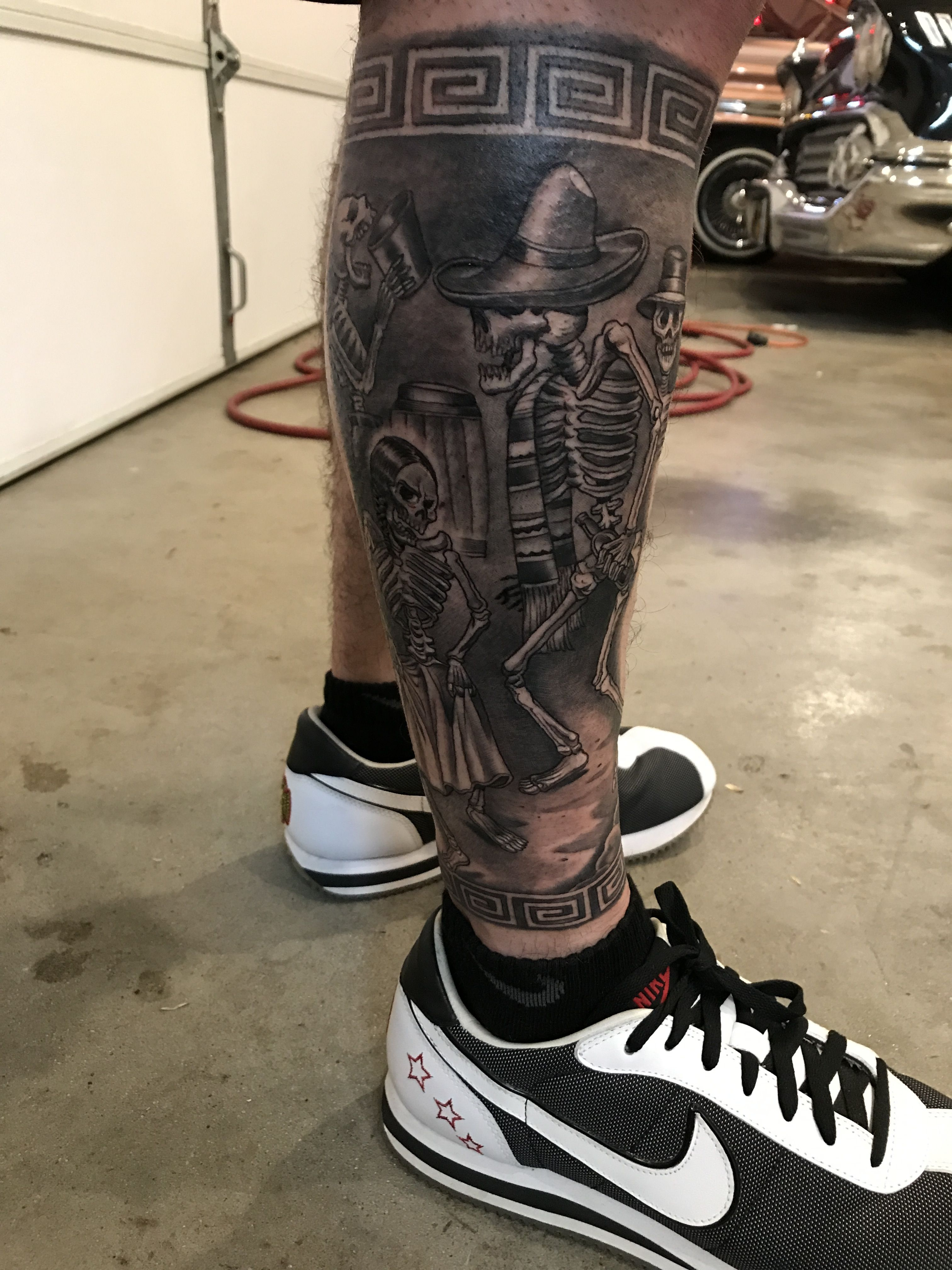 Muertitos Themed Leg Sleeve Aztec Tattoos Sleeve Sleeve Tattoos
