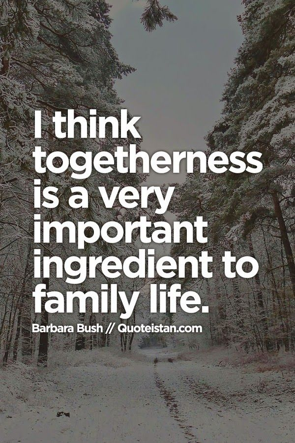 i think togetherness is a very important ingredient to family