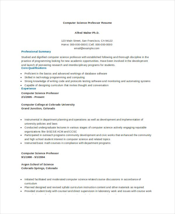 Computer Science Professor Resume Example