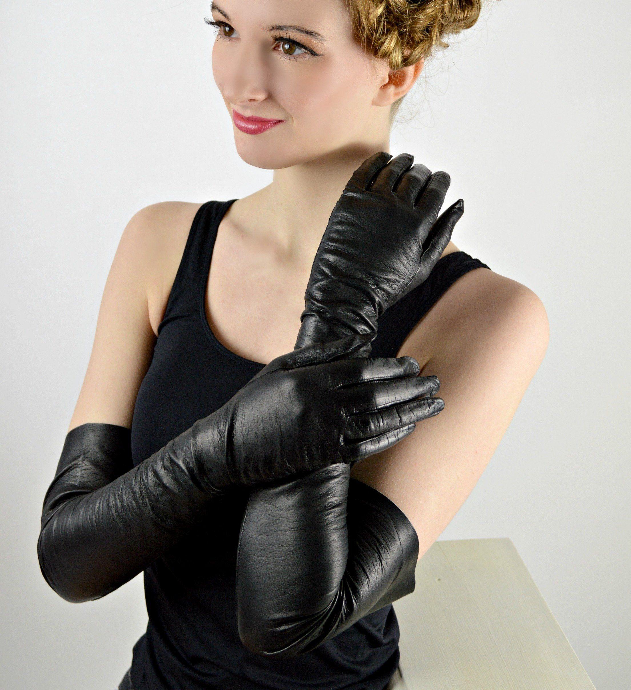 Black Long Gloves Kid Leather Opera Length Gloves