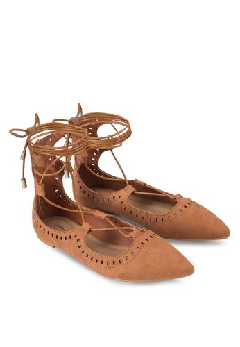 Laser Cut Laced Up Ghillie Flats from Something Borrowed in brown_4