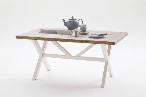 """Tradisjonelt Byron sofabord med kryssben. Bordet har en stilig rustikk hvit finish kombinert med topplate i """"vintage brun"""" resirkulert furu."""