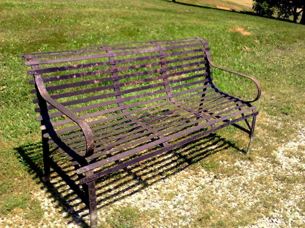 Antique Cast Iron Garden Park Bench With Iron Slats C 1920 Antique Cast Iron Antiques Garden Park