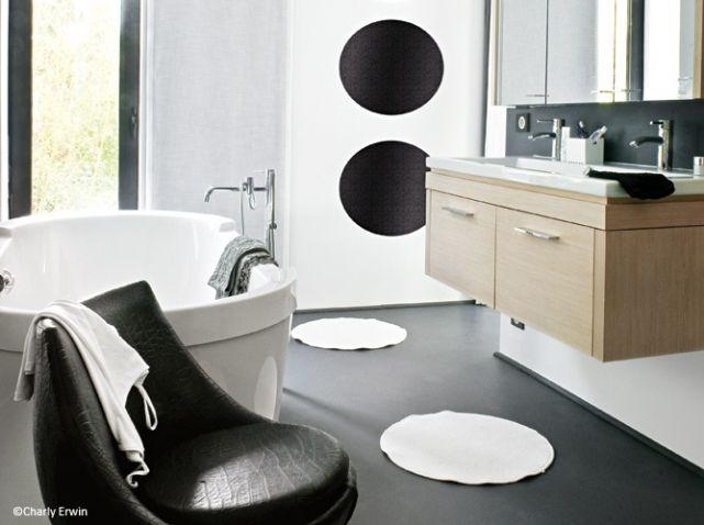 Maison noir et blanc salle de bains Bain douche Pinterest - decoration salle de bain moderne