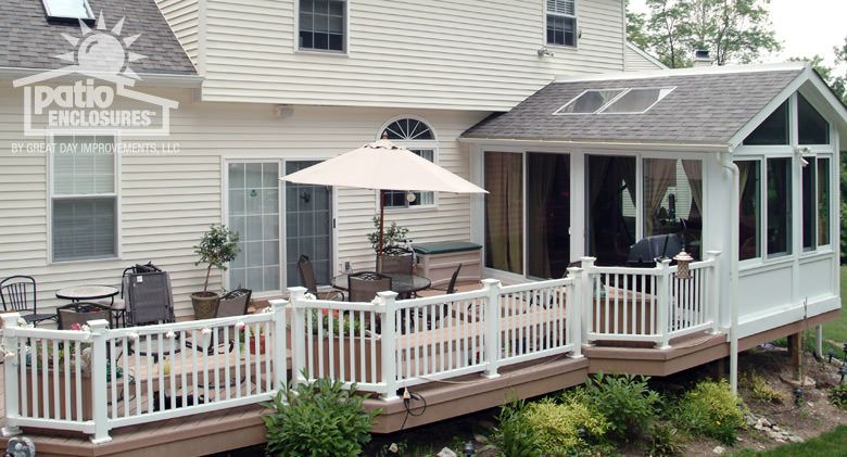enclosed patio with stairs designs sunroom with deck and handrailing - Sunroom Patio Designs