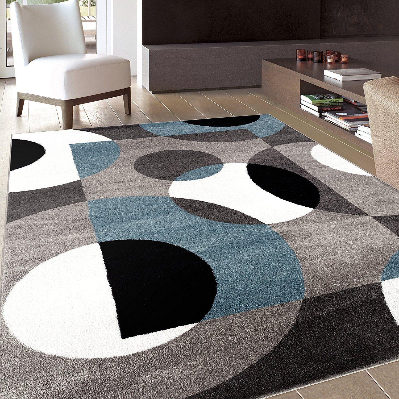 Photo of Circle Gray/Grey Blue Area Rug – 6'6 x 9′