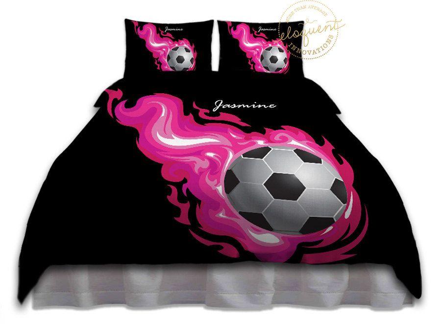 Girls Soccer Bedding   Comforter Pink Flames   Soccer Bedding   Kids Sportsu2026