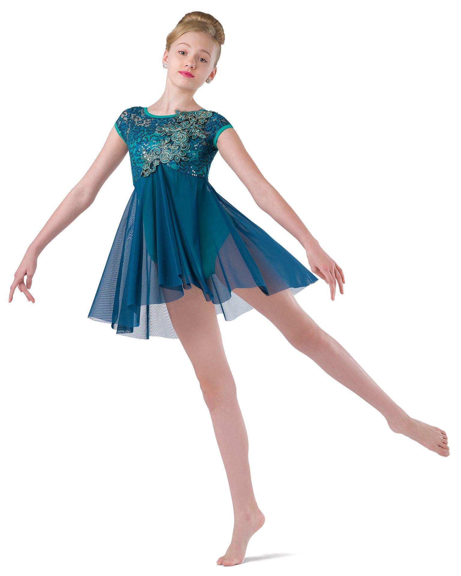 Toddler Girls Lyrical Dance Leotard Dress Ballet Sequins Mesh Skirt Costume