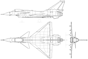 An orthographically projected diagram of the Chengdu J-10