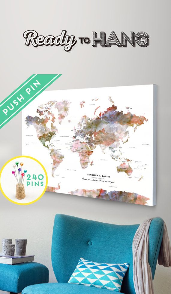 Personalized push pin large world map canvas terra watercolors personalized push pin large world map canvas terra watercolors gift idea 240 pins 198 world flag sticker pack included woods flats and room gumiabroncs Image collections