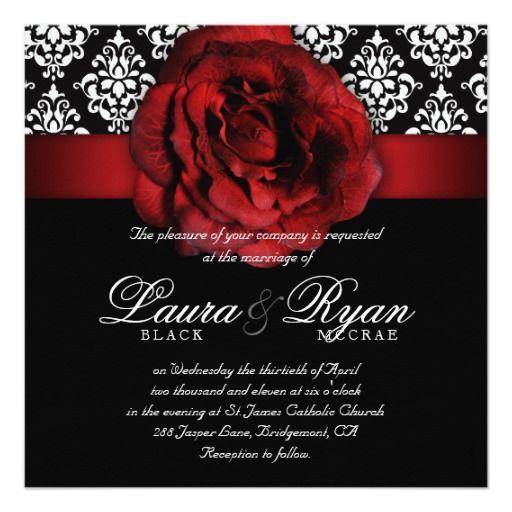 Elegant Wedding Damask Red Rose Black White 5.25x5.25 Square Paper Invitation Card