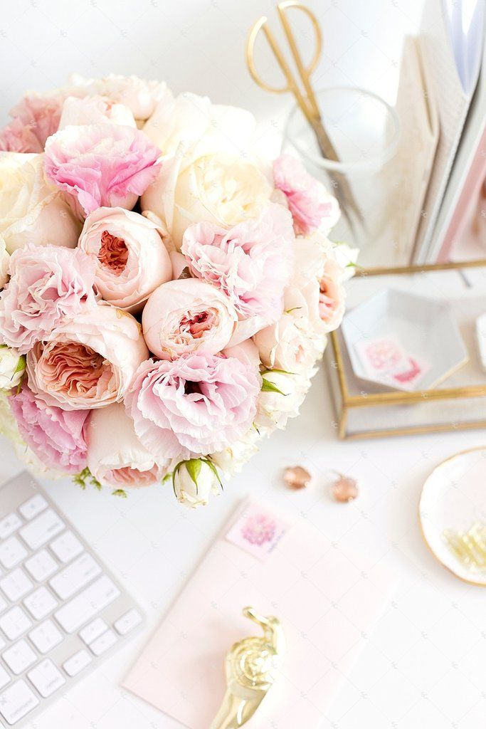 Blush Pink And Gold Desktop Styled Stock Photography For Creative Businesses Gold And Pink Desk Accessories P Pink Desk Office Inspiration Photography Office
