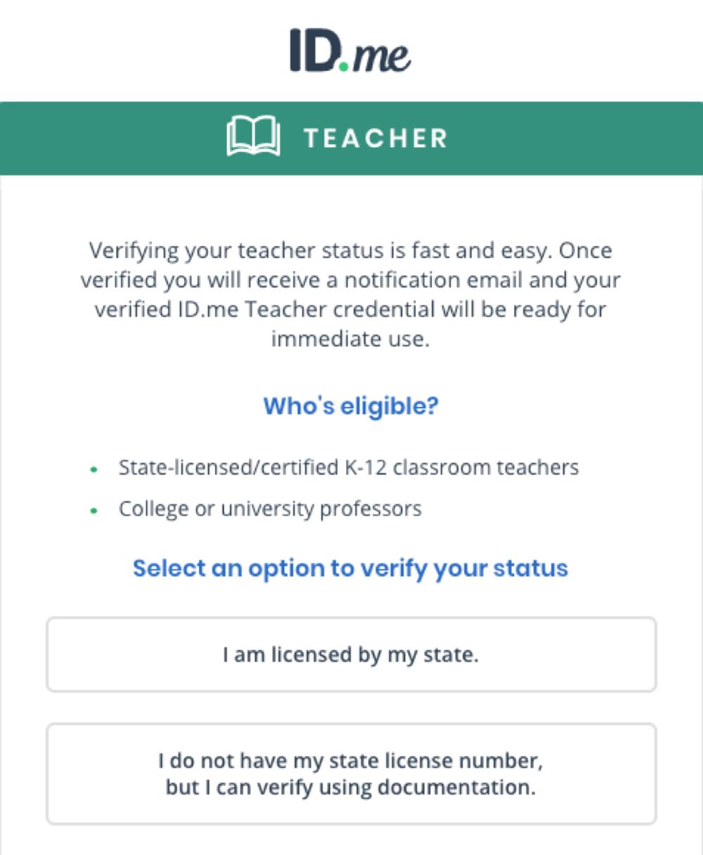 How Do I Verify My Teacher Status Id Me Support My Teacher Teacher Teachers College [ 1216 x 1000 Pixel ]