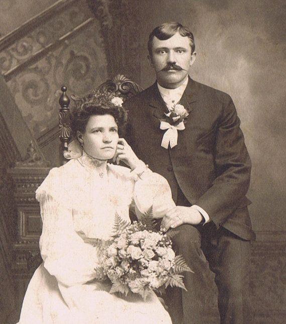 Vintage 1910s Cabinet Card Photograph Wedding Portrait Studio of Chicago Czech Bride and Groom, Matousek Studio