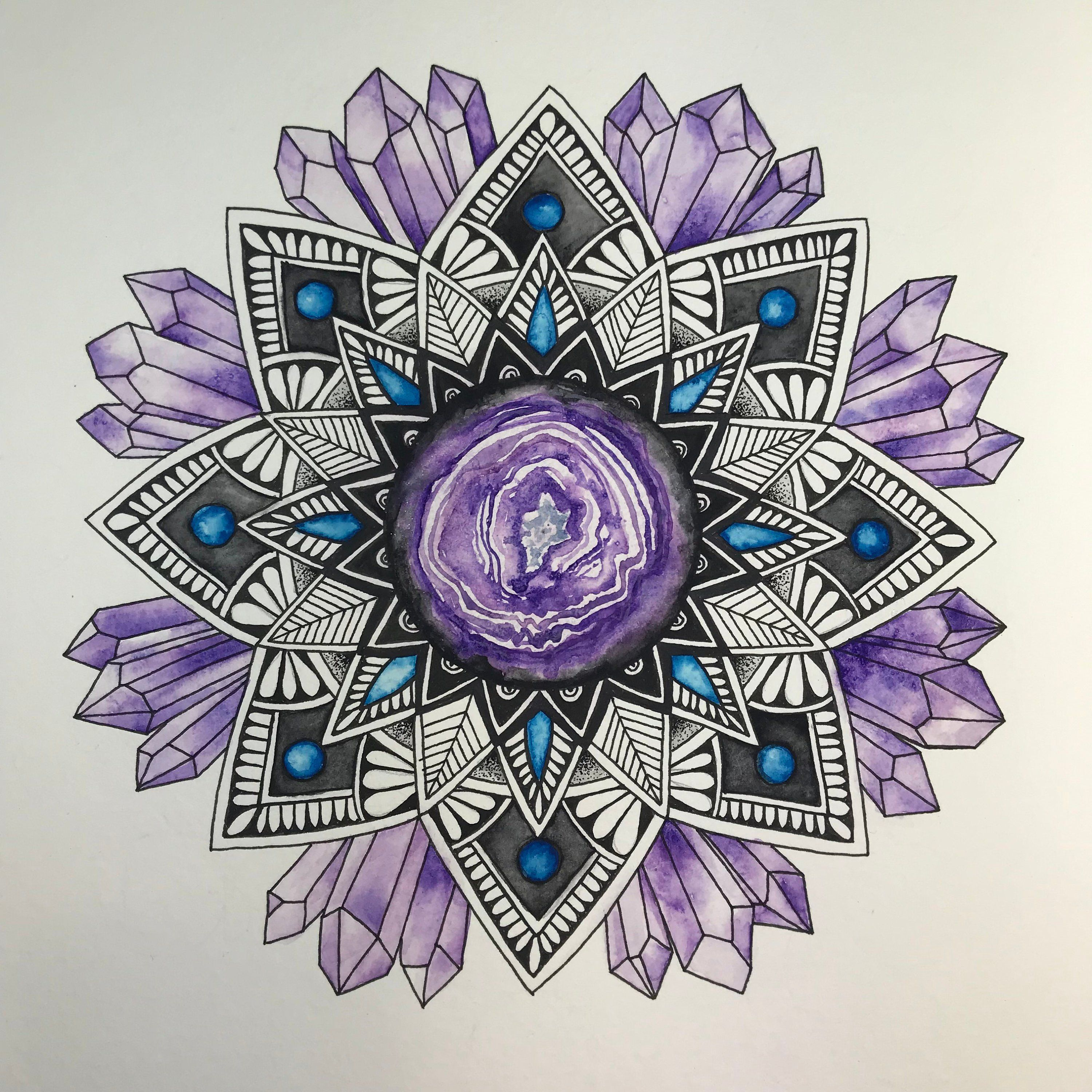 Geode And Crystal Galaxy Mandala Art Original Watercolor And Ink