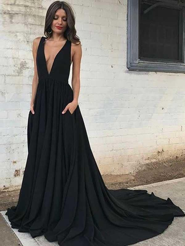 A-line V-neck Sweep/Brush Train Sleeveless Chiffon Prom Dress ...