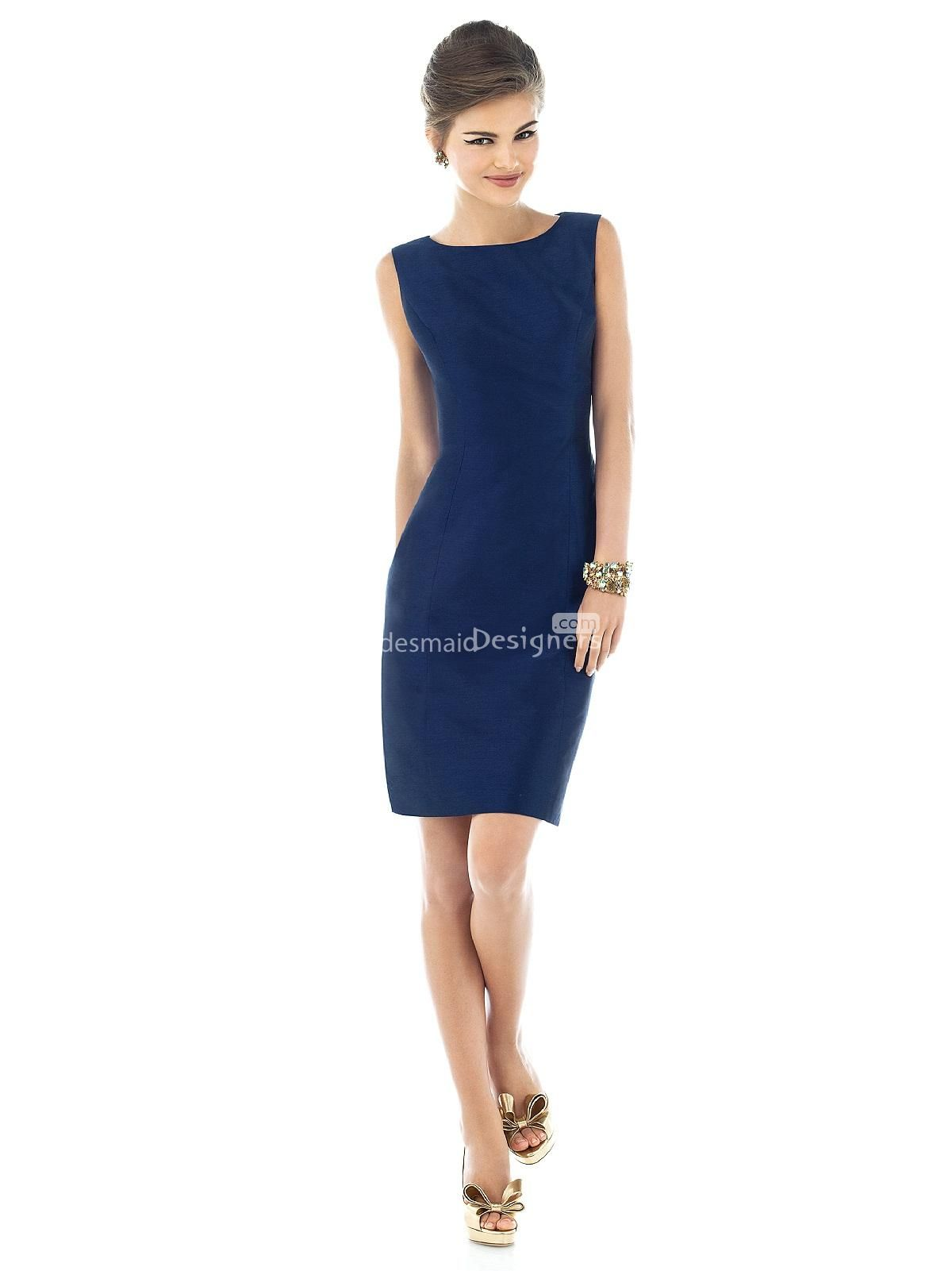 Different dark blue sleeveless boat neck cocktail length sheath
