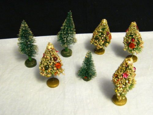 7-Vintage-Miniature-Artificial-Christmas-Trees-Mercury-Balls-w-Wood