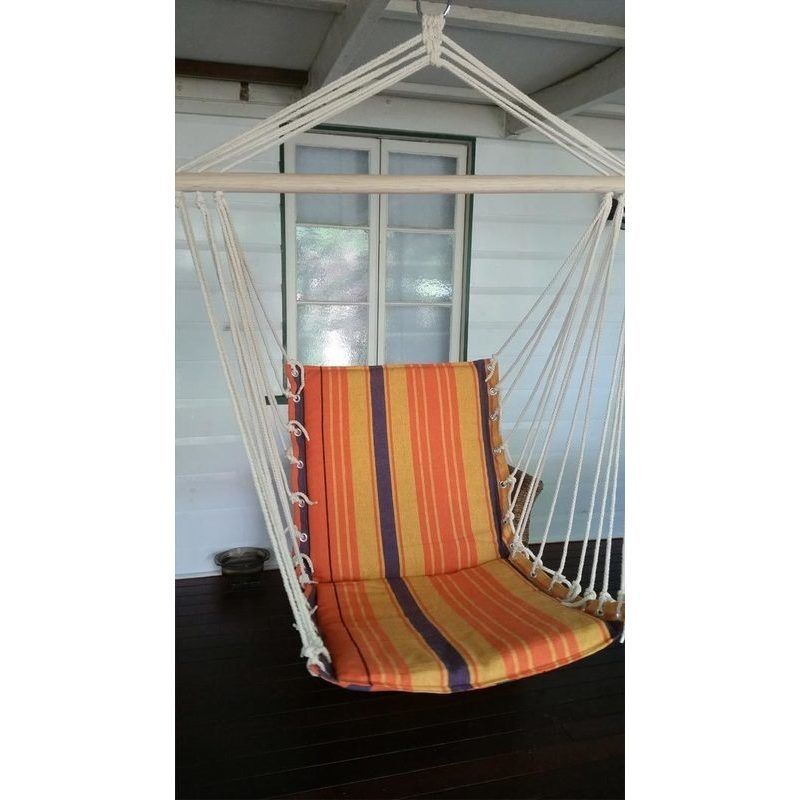 Outdoor Padded Hammock Chair Swing In Orange | Buy Hammocks