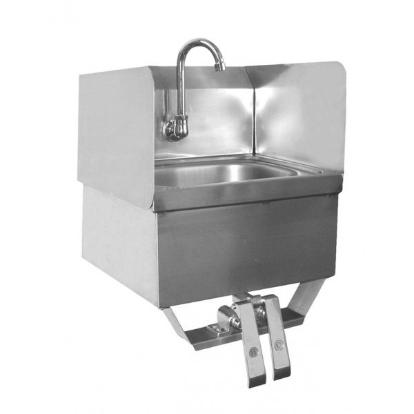 Quality Commercial Kitchen Equipment   Hands Free Wall S/S Hank Sink W/Knee  Pedal 15.25 X 15.75 X 19
