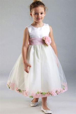 ec5c124e8f8 Flower Girl Dresses  C596IV-PK   Satin Bodice Petal Flower Girl ...