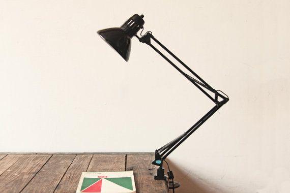Black Metal Articulating Clamp Desk Lamp Door OTHERTIMESvintage, $40.00