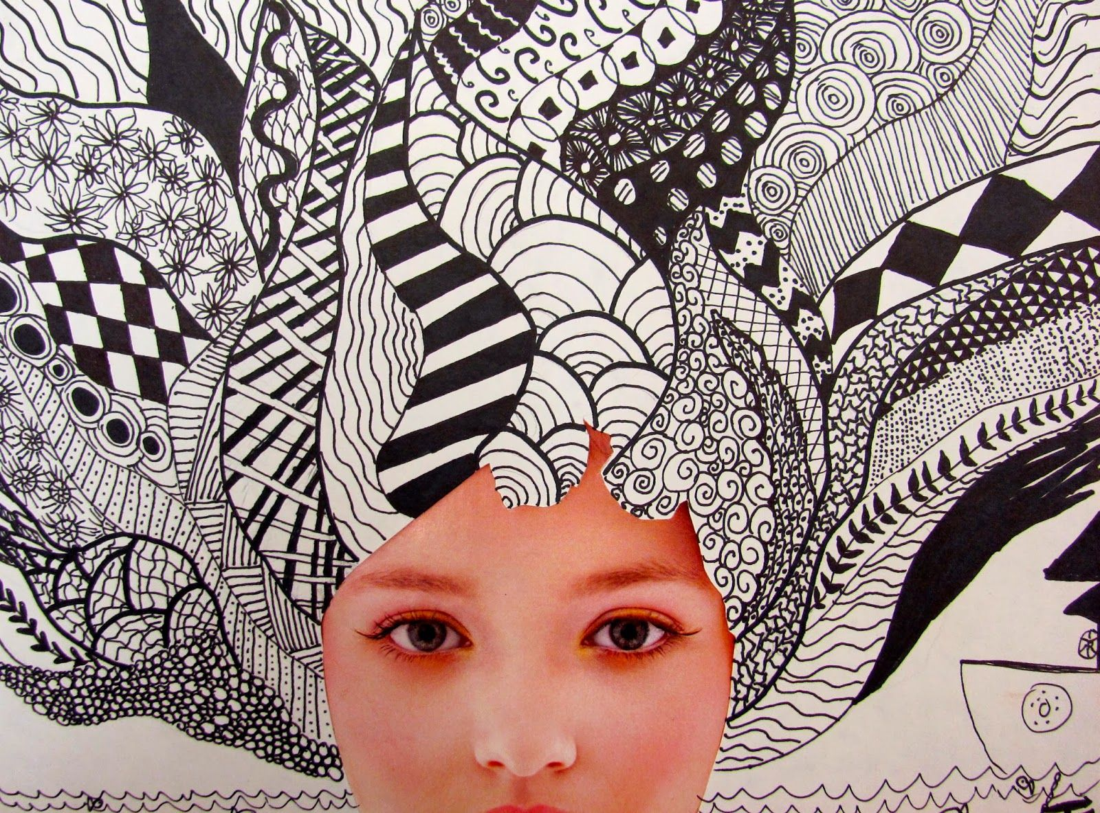 Zentangle Collage - Cut Face Of Magazine And Add Hair. Projects In 2019 Art