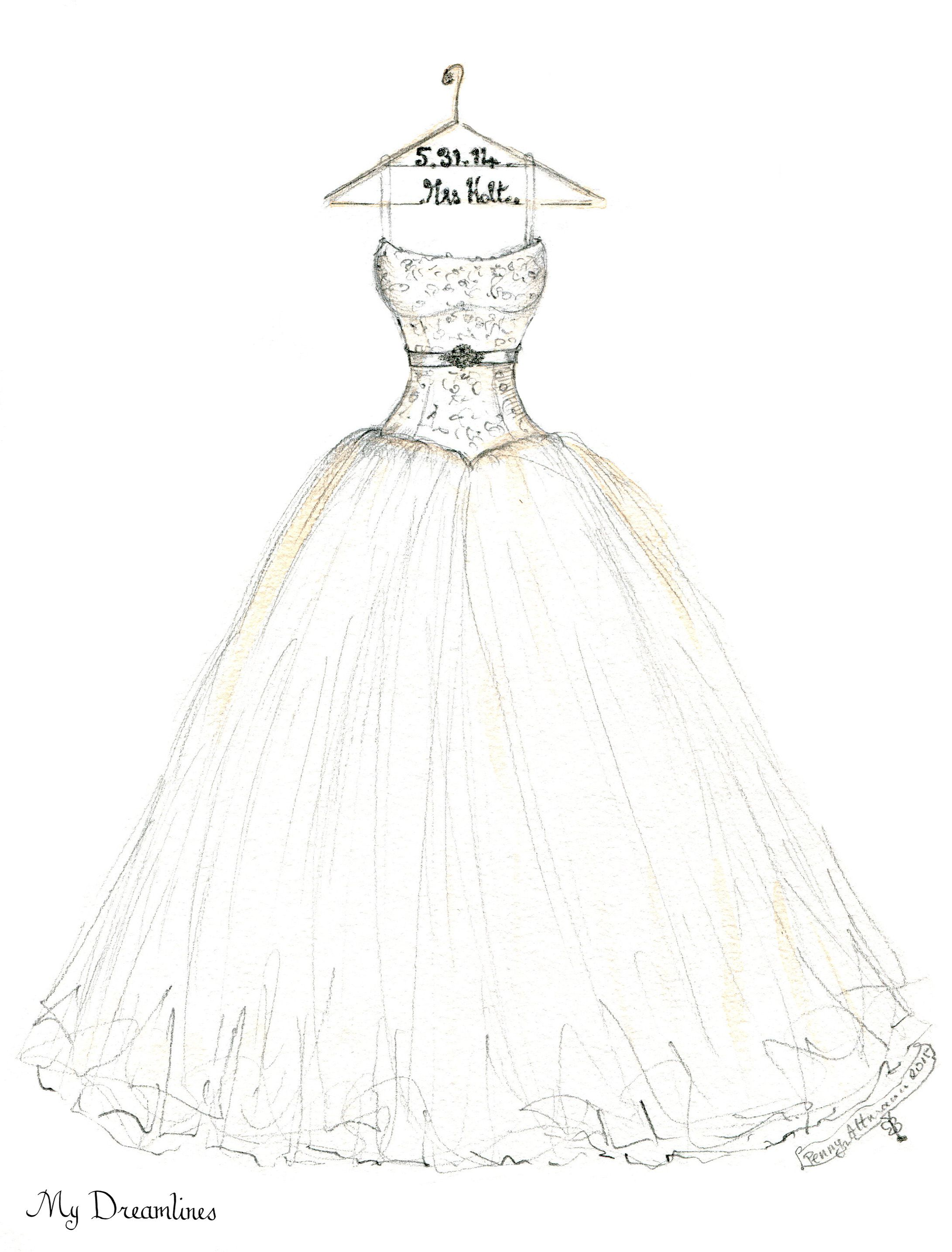 wedding dress sketch for the bride The artist behind Dreamlines Nikki Gentry draws the most beautiful wedding dress works of art