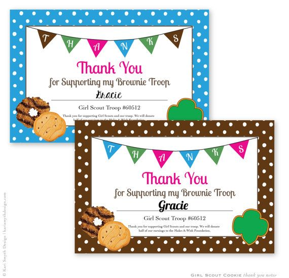 Girl Scout Cookie Fundraiser Thank You Notes Personalized - fund raiser thank you letter