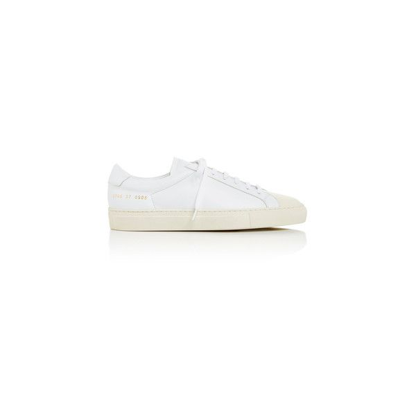 Common Projects White Retro Two Toned Sneakers with Cap Toe (570 CAD) ❤ liked on Polyvore featuring shoes, sneakers, laced shoes, laced up shoes, cap toe shoes, retro sneakers and two-tone shoes