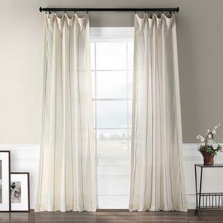 Exclusive Fabrics Aruba Striped Linen Sheer Curtain Panel 50 X