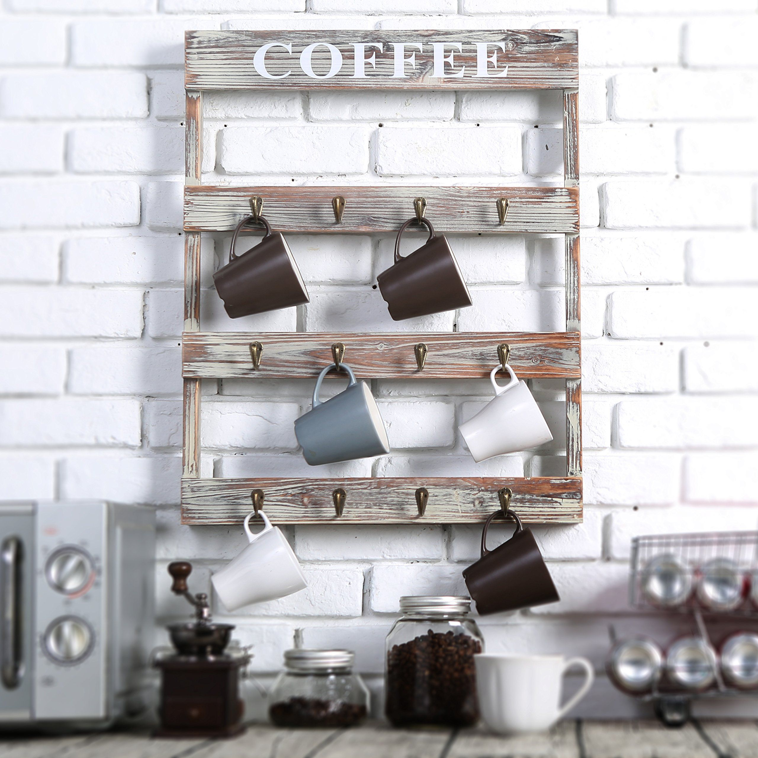12 Hooks Rustic Wall Mounted Wood Coffee Mug Holder Kitchen Storage Rack Large See This Great Pro Coffee Mug Display Coffee Mug Holder Kitchen Wall Storage