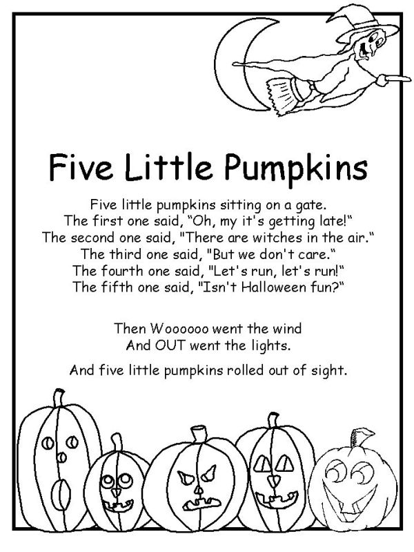 Five Little Pumpkins Poem Halloween Poems Halloween Preschool