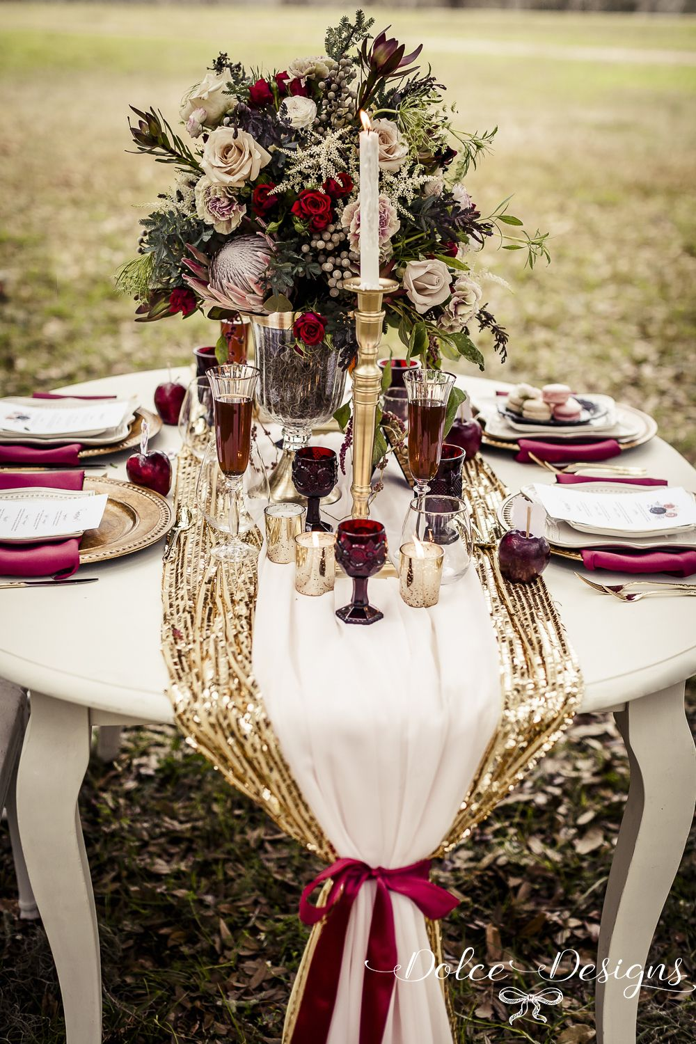 Marsala Table Styling Centrepiece Wedding Inspiration Dolce Designs