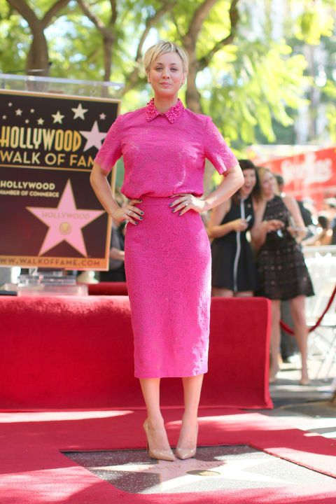 Kaley Cuoco poses with her star on the Hollywood Walk of Fame on Oct. 29, 2014, in Hollywood.