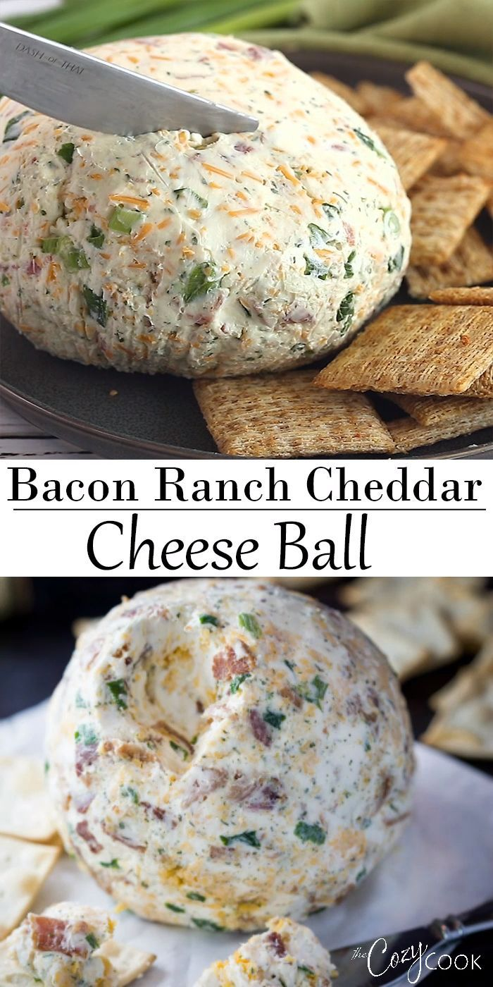 Bacon Ranch Cheddar Cheese Ball This easy Cheese Ball recipe has the BEST combination of flavors in