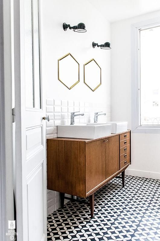 "why: love the look, but not sure how practical the wooden ""commode"" is in a bathroom. Like the 50's vibe though!"